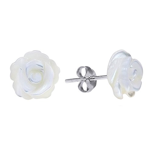 Rose of Innocence Carved Mother of Pearl .925 Sterling Silver Stud Earrings (Handcrafted Mother Of Pearl Earrings)