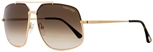 Tom Ford Ronnie FT0439 Sunglasses - 48F Shiny Dark Brown (Brown Gradient Lens) - - Ford Sunglasses Tom Square