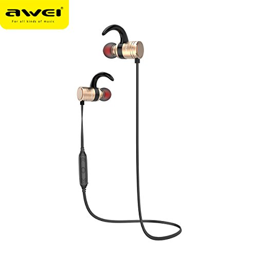 Bluetooth Battery Life (12h Calling Long Battery Life Bluetooth Headphones Magnetic Switch AWEI AK7 Wireless Earbuds Bluetooth V4.1 Sports Earphones IPX4 Sweatproof Running Wireless Headset(CVC6.0 Noise Cancelling) (GOLD))
