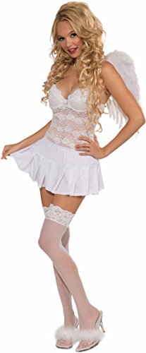 Sexy Cupid Costumes (Forum Novelties Women's Pleated Costume Mini Skirt, White, One Size)