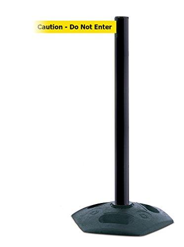 Tensabarrier 886-33-STD-NO-YAX-C Heavy Duty Outdoor Post with Black Tube, No Custom Yellow Webbing/Black