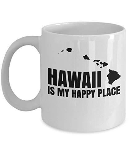 Hawaii Is My Happy Place With Map Coffee & Tea Gift Mug Cup, Party Favors, Supplies, Desk Decorations, Kitchen Table Accessories, Travel Vacation Souvenirs And Birthday Gifts For Men & Women (11oz) -