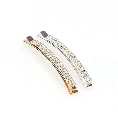 Waldd 12 Pieces Rhinestone Bobby Pins Decorative Double Row Clear Crystal Hair Pins