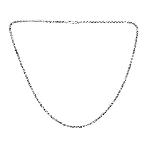 OMG Jewelry 925 Sterling Silver Italian Hip Hop Rope Chain Necklace, For Men And Women, 24'' 26'' 28'' 30'' ()