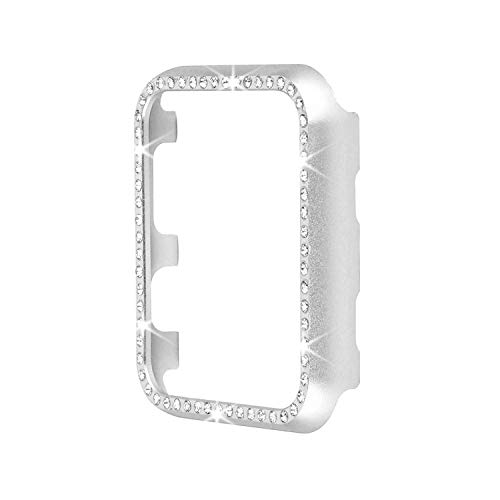 - Aluminum Metal Watch Case with Crystal Diamonds Plate Protective Cover Ultra Thin Bumper for Watch Series 1/2/3(Best 3D Bling Gift for Your iWatch) (Silver Bling, 38 mm)