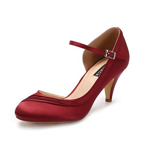 ERIJUNOR E2699 Kitten Heels for Women Comfortable Low Heel Closed Toe Satin Evening Dress Wedding Shoes with Ankle Strap Burgundy Size ()