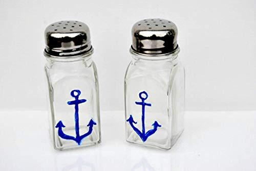 - Navy Blue Anchor Glass Salt and Pepper Shaker Set