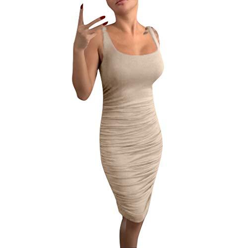 TANGSen Women Plus Size Fashion Casual Dress Ladies Skinny Summer Spaghetti Solid Sleeveless Strap Halter Dress Khaki