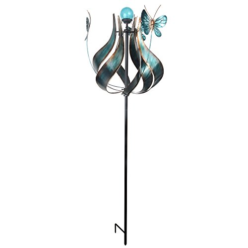 Peaktop Metallic Kinetic Tulip Windmill Garden Spinner with Butterflies, Teal
