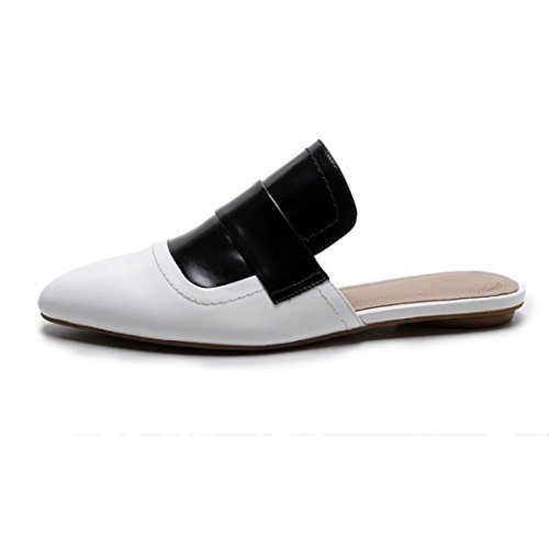 Chunky Block Casual On Mules Classic Heel F658 Womens Backless White Slip Platform waYqS0Anx