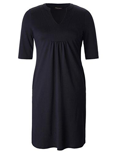 (Chicwe Womens Stretch Plus Size Split Neck Knit Work Dress With Pockets 3X, Black)