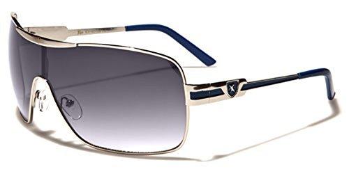 Khan Fashion Men's Square Aviator Style Sunglasses Silver Black Blue Sport Shades ()