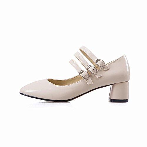 Mee Shoes Damen chunky heels Schnalle runde Pumps Beige