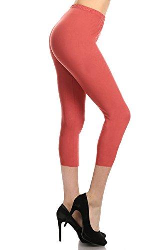 - Leggings Depot Buttery Soft Basic Solid 36+ Colors Women's Capri Leggings (Apple Butter, One Size (Size 0-12))