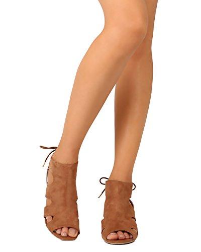 Qupid FD69 Women Faux Suede Peep Toe Cut Out Back Lace Wedge Sandal - Camel (Size: (Lace Suede Wedges)