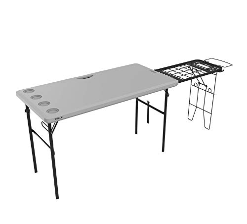 LIFETIME 280813 Folding Tailgate Camp Table with Grill Rack, Gray