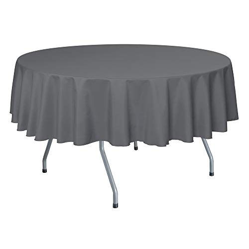 Ultimate Textile -10 Pack- 72-Inch Round Polyester Linen Tablecloth - for Wedding, Restaurant or Banquet use, Charcoal Grey