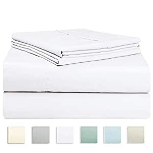 400 Thread Count Cotton Double Bed Sheet Set White, Soft Luxurious Satin 100% Long Staple Cotton Bedding Set Double Bed, 4 PC Include 1 Fitted Sheet, 1 Flat Sheet & 2 Pillowcase