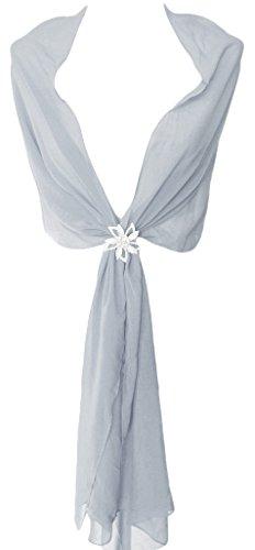 Alivila.Y Fashion Womens Bridal Evening Scarf Shawl Wrap-Grey Chiffon ()