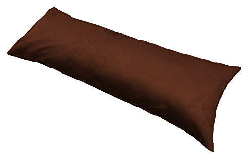"""Ultra-soft plush Micro-Suede Body pillow cover With Hidden Zipper 20"""" X 54"""" (Chocolate)"""