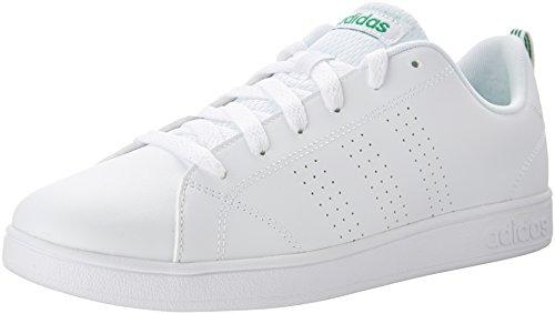 (adidas Kids' VS Advantage Clean Sneaker, White/White/Green, 5.5 M US Big Kid)