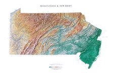 Pennsylvania & New Jersey Topographic Wall Map by Raven Maps, Print on Paper (Non-Laminated)