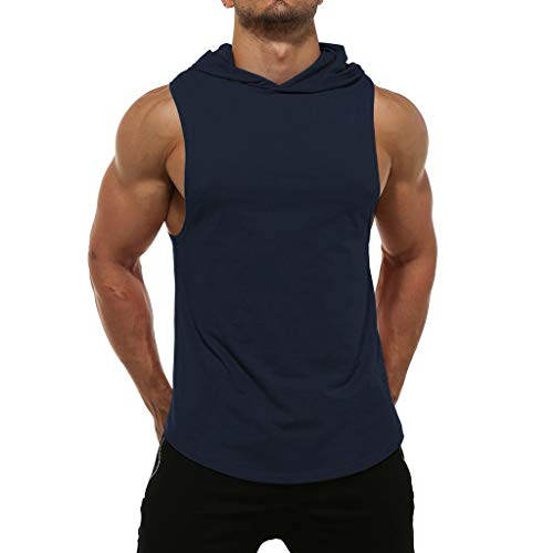 - Canserin Men's Summer Workout Hooded Tank Tops Bodybuilding MuscleT Shirt Sleeveless Gym Hoodies(Navy,L)