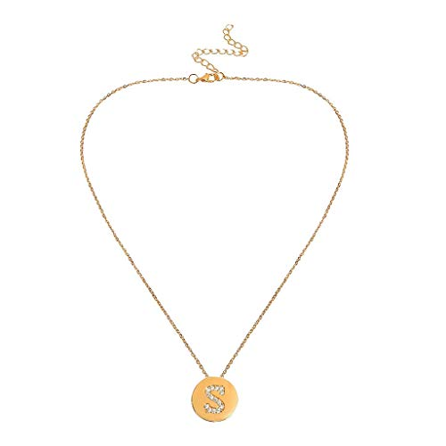 Initial Letter Pendant Necklace,Crytech Dainty Fashion Stackable Cubic Zircon Rhinestones Inlay A-Z Coin Charm Clavicle Chain Necklace for Women Ladies Mother's Day Birthday Chirismas Gifts (S)