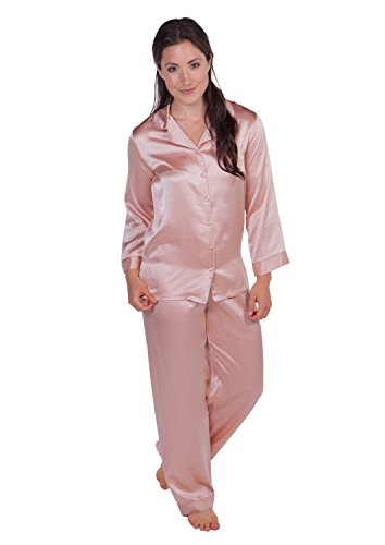 TexereSilk Women's 100% Silk Pajama Set - Luxury Sleepwear Pjs (Morning Dew, Evening Sand, X-Small) Elegant Lounge Wear for Her WS0001-ESD-XS ()