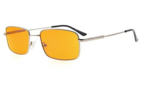 Eyekepper Mens Anti Blue Light Glasses Better Sleep 97% Blue Light Blocking-Bendable Memory Titanium Computer Eyeglasses, Dark Orange Tinted Lens(Silver, - Eyeglasses Titanium Bendable