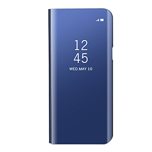 Funda Samsung Galaxy A8 Plus 2018, Visión Clara Pie Smart Cover Soporte Mirror Protección Completa Rígida Borde ,Sunroyal Multifuncional Cubierta del espejo Permite ver Claramente la Clear Standing Fl Azul