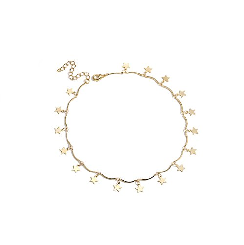 ForeveRing Z Star Necklace Dangle Star Collarbone Necklace Gold Tone Metal Chain Necklace Woman Jewelry]()