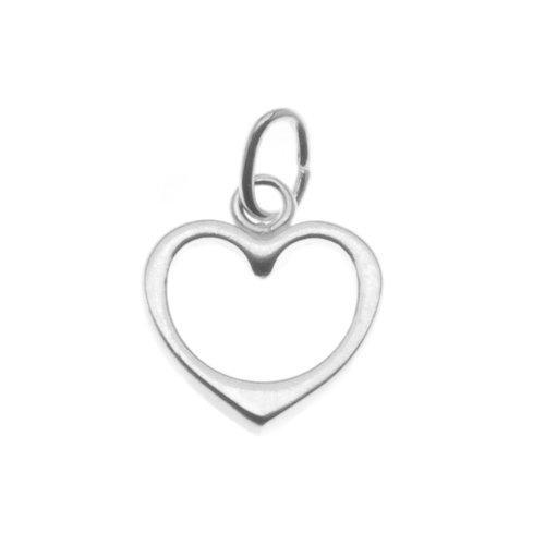 Sterling Silver Charm Sleek Open Heart 10mm (Sterling Shape Heart)