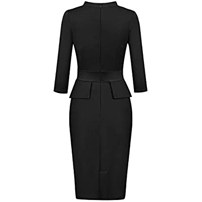 Moyabo Women's Tie Neck Vintage Bodycon Peplum Business Formal Work Pencil Dress: Clothing