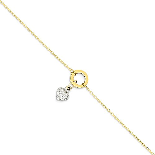 IceCarats 14k Gold Two Tone Circle/ Puff Heart 1 Inch Adjustable Chain Plus Size Extender Anklet For Women Ankle Beach Bracelet by ICE CARATS