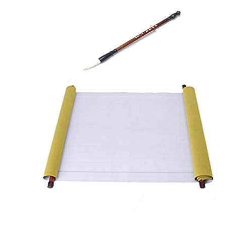 Reusable Chinese Magic Cloth Water Paper Calligraphy Fabric Book Notebook for Chinese Calligraphy Practice 1.5m (1 Pack with A Brush)