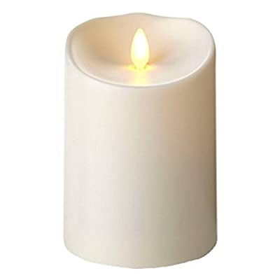 "Luminara Outdoor Flameless Candle: Plastic Finish, Unscented Moving Flame Candle with Timer (5"" Ivory)"