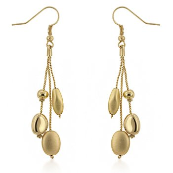 14k Gold Plated Matte and Shiny Bead 3-Strand Dangle Drop Earrings