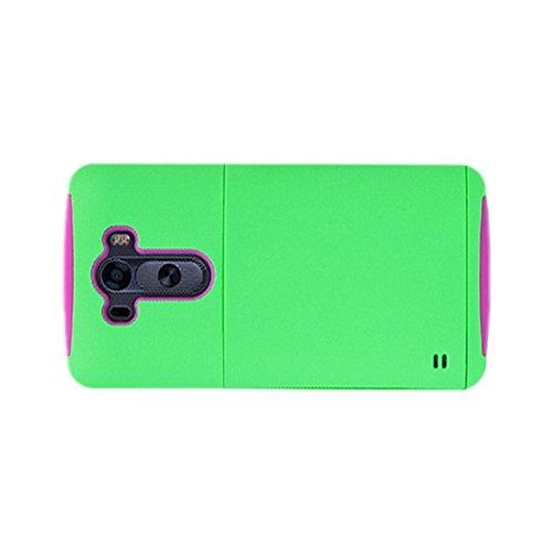 Caja de telefono - SODIAL(R) Caja protectora de telefono dura contra choques con carpeta de tarjeta de credito para LG G3 verde y rojo de rosa