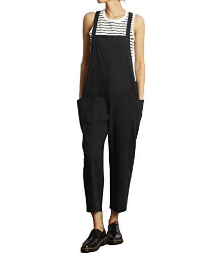 Celmia Women's Strappy Jumpsuits Overalls Casual Harem Pants Wide Leg Low Crotch Loose Trousers Black M