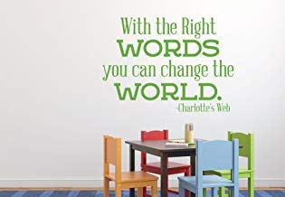 Qiu1936 Change The World Inspirational Word Decals Vinyl Wall Decor Charlotte's Web Quote Sticker Lettering for Home Decor, Schools, Preschools, Children's Playroom, Bedroom, or Office