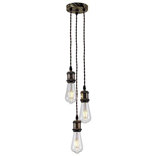 UPSTONE Industrial Cluster Pendant Light 3 Lights Ceiling Light Chandelier, Vintage E26 Edison Hanging Light Fixture with Adjustable Wires for Kitchen Island Living Dining Room Loft Bar