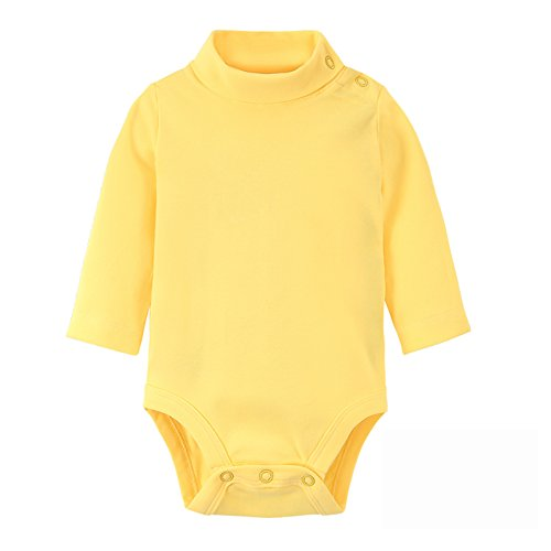 DANROL Baby Long Sleeve Solid Turtleneck Bodysuits Yellow 18 Months Yellow Long Sleeve Onesie
