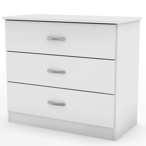 (South Shore 3050033 Libra Collection 3-Drawer Dresser, Pure White with Metal Handles in Pewter)