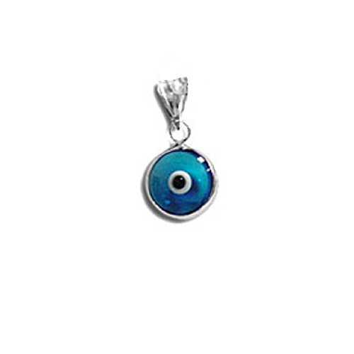 Sterling Silver - Greek Evil Eye 2 Sided Pendant (10mm) (Clear Turquoise)