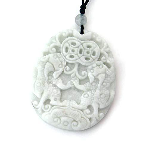 Light Color Stone Twin Fortune Pixiu Dragon Amulet Pendant