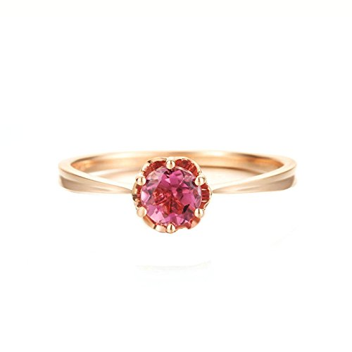 18K Gold Ring(Au750),0.5Ct Six Claw Round Cut Pink Tourmaline Ring Wedding Ring for Women Bride Size 4.5 by Epinki
