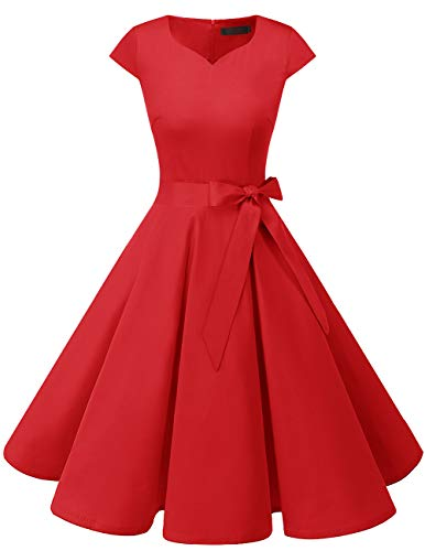 DRESSTELLS Retro 1950s Cocktail Dresses Vintage Swing Dress with Cap-Sleeves Red XS