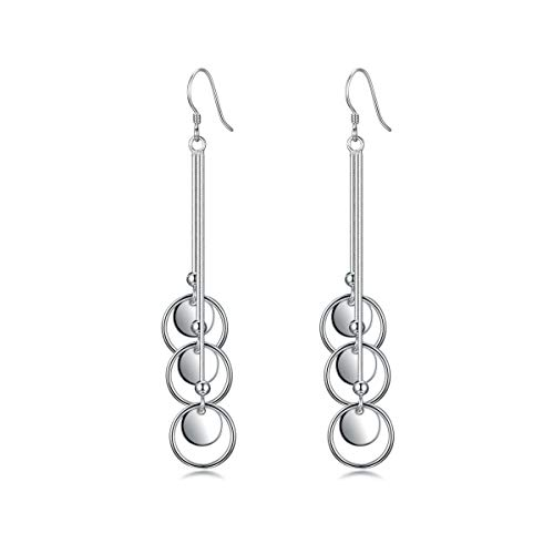 SUMERBOX Sterling Silver Long Linear Tassel with Multi Circle Pendant Platinum Plated Dangle Earrings
