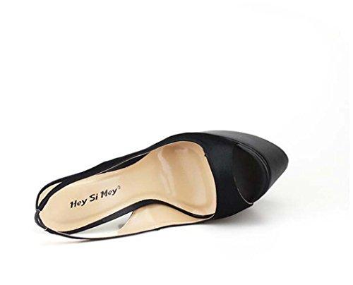 50 40 Sola Peep de Color Negro Tacón Tamaño Tamaño Toe Zapatos 49 Bomba Zapatos para Sandalias Mujer Alto Plataforma qYtvnBY6O